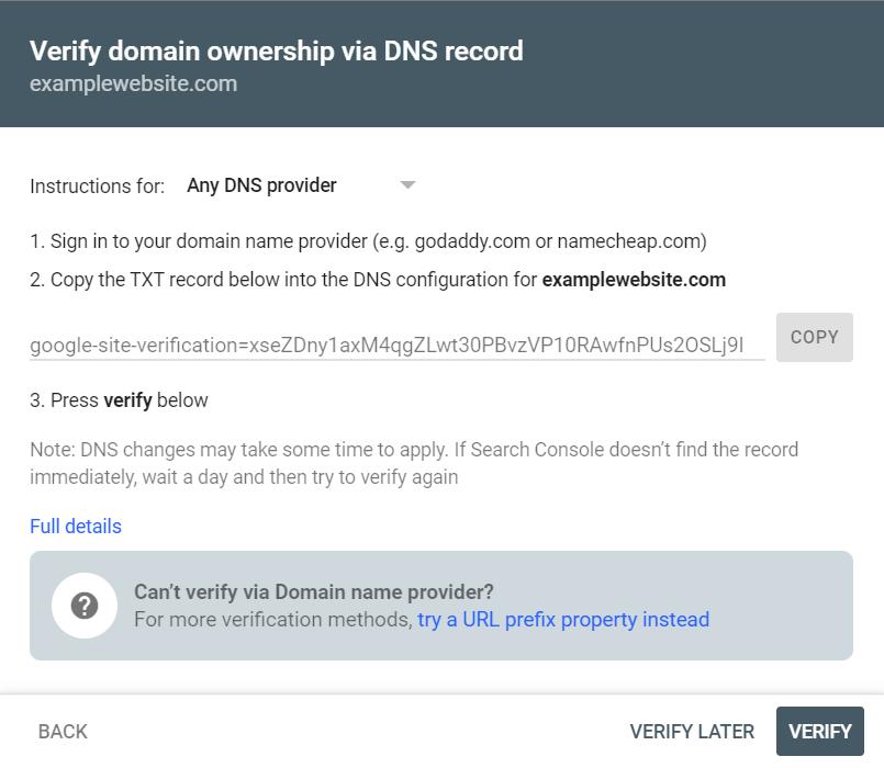 Verify via DNS